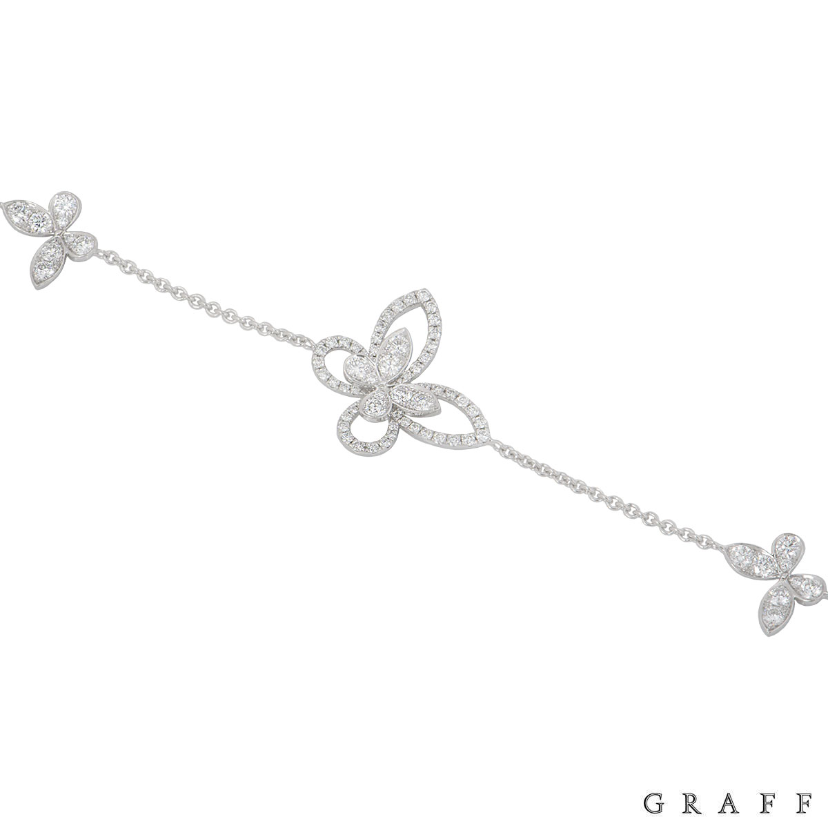 Graff White Gold Diamond Butterfly Silhouette Bracelet